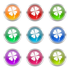 four-leaf clover colorful vector icons set