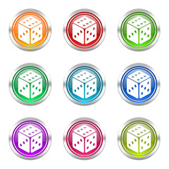 casino colorful vector icons set