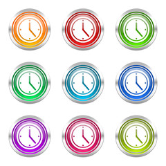 clock colorful vector icons set