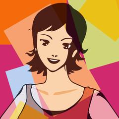 Portrait pop d'une femme souriante