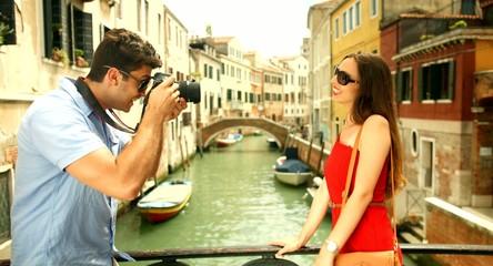 Happy Tourist Couple Taking Pictures Venice Canal Bridge