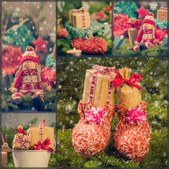 Collage Christmas decorations gifts spruce santa claus snow snow