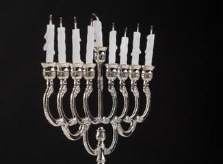 Extinct candles on the menorah. End of holiday Hanukkah