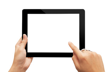 hand nad tablet isolated on white
