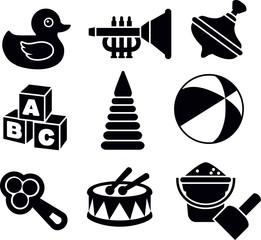 Set of silhouette toys