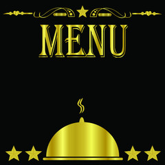 Black and Gold 5 Star Restaurant Menu Cover