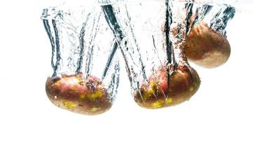 potatos fall deeply under water