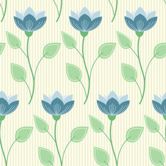 seamless pattern: blue flowers