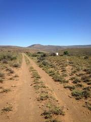 Dirt road in arid Karoo region with blue skies