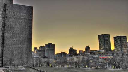 Sunset time lapse shot over Montreal downtown, winter