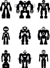 Set of silhouette robot