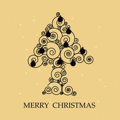 Spiral christmas tree gold bg