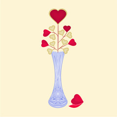 Valentine day hearts in grinded vase vector