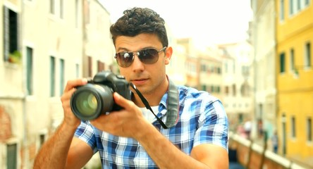 Attractive Young Tourist Taking Pictures in Italy Photographer