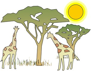 Simplified Africa motive with girafes