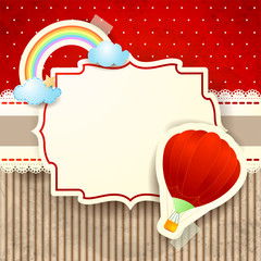 Hot air balloon and rainbow over cardboard background