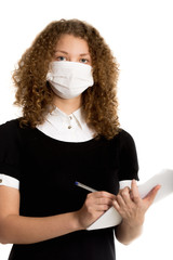 Office employee wearing mask caught cold