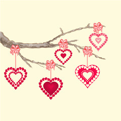 valentines day hearts on a branch vector