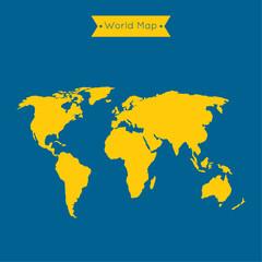 World map and ribbon.