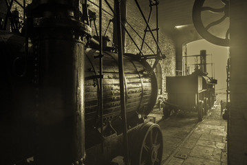 Old Steam Engine In a Locomotive shed