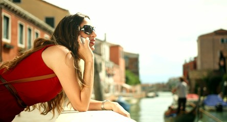 Stylish Fashion Business Woman Talking Phone Italy Travel