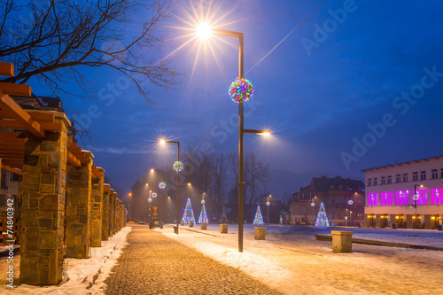 Christmas decoration on the street in Zakopane, Poland