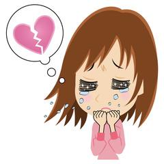 失恋で涙を流す女性