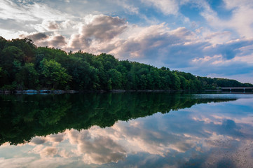Reflections of clouds and trees in Lake Marburg, Codorus State P