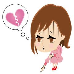 失恋でいじける女性