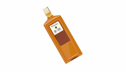Whisky bottle spin on white background