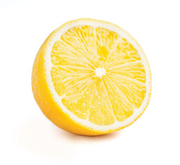 Lemon cut half slice isolated
