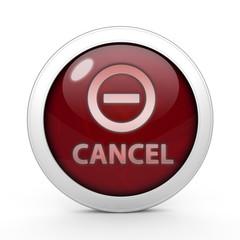 Cancel circular icon on white background