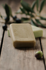 Olive handmade soap on the wooden table