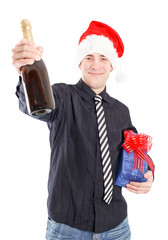Man with champagne and gifts