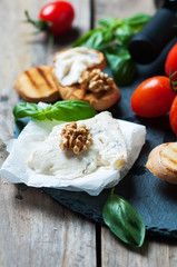 Concept of Italian food with gorgonzola