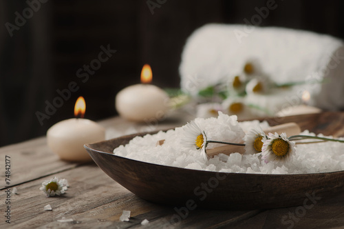 Spa concept with daisy, white salt and candles - 74842177