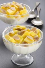 yogurt with mango and roasted almond sliver