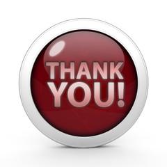 Thank you circular icon on white background