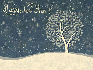 Horizontal winter greeting card of snowfall with snow tree.