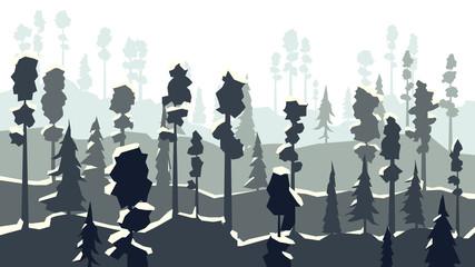 Cartoon of winter coniferous forest in in dark blue tone.