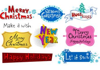 Festive Christmas inscriptions.