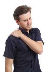 Man with shoulder pain and hand pressing it