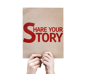 Share Your Story card isolated on white background