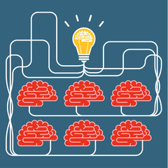 Brain and bulb light. Concept of Idea