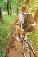 Unrecognizable cyclist man riding mountain bike