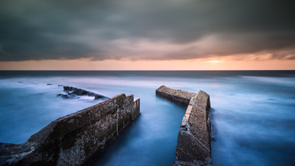 Sunset panorama over sea, long exposure