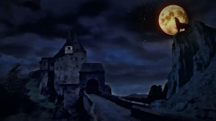 Dark castle and a wolf howling at the moon.