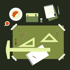 Flat Design Technical Drawing Set