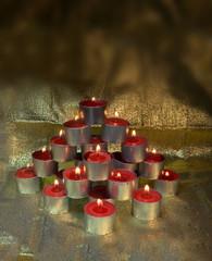 xmas night candles like tree golden background