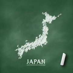 Japan map chalkboard green vector